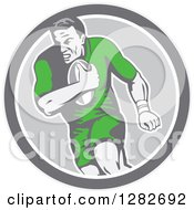 Clipart Of A Retro Male Rugby Player Running In A Gray And White Circle Royalty Free Vector Illustration