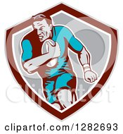 Clipart Of A Retro Male Rugby Player Running In A Taupe Maroon White And Gray Shield Royalty Free Vector Illustration