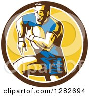 Clipart Of A Retro Male Rugby Player Running In A Brown White And Yellow Circle Royalty Free Vector Illustration