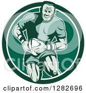 Clipart Of A Retro Muscular Male Rugby Player Running In A Green And White Circle Royalty Free Vector Illustration