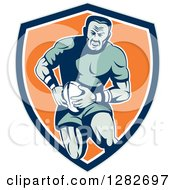 Clipart Of A Retro Muscular Male Rugby Player Running In A Blue White And Orange Shield Royalty Free Vector Illustration