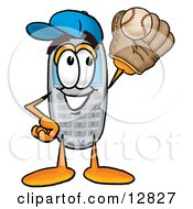 Wireless Cellular Telephone Mascot Cartoon Character Catching A Baseball With A Glove
