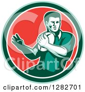 Clipart Of A Retro Male Rugby Player In A Green White And Red Circle Royalty Free Vector Illustration