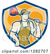 Poster, Art Print Of Retro Cartoon Male Plumber Holding A Plunger Over His Shoulder In A Blue White And Orange Shield
