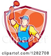 Poster, Art Print Of Retro Cartoon Male Plumber Holding Up A Plunger In A Red White And Orange Shield