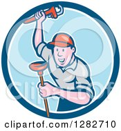 Poster, Art Print Of Cartoon Male Plumber With A Monkey Wrench And A Plunger In A Blue And White Circle