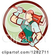Poster, Art Print Of Retro Cartoon Male Plumber With A Giant Monkey Wrench And A Plunger In A Brown White And Green Circle