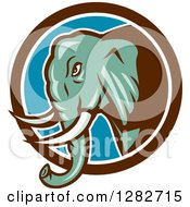 Clipart Of A Retro Cartoon Angry Turquoise Elephant In A Brown White And Blue Circle Royalty Free Vector Illustration
