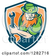 Clipart Of A St Patricks Day Leprechaun Mechanic Holding A Wrench In A Blue White And Orange Shield Royalty Free Vector Illustration by patrimonio
