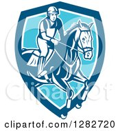 Clipart Of A Retro Male Equestrian Show Jumping A Horse In A Blue And White Shield Royalty Free Vector Illustration