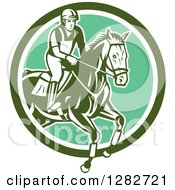 Clipart Of A Retro Male Equestrian Show Jumping A Horse In A Green And White Circle Royalty Free Vector Illustration