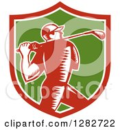 Clipart Of A Retro Woodcut Male Golfer Swinging A Club In A Red White And Green Shield Royalty Free Vector Illustration