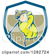 Clipart Of A Retro Cartoon Male Golfer Swinging A Club In A Blue White And Brown Shield Royalty Free Vector Illustration