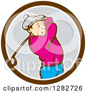 Clipart Of A Retro Cartoon Male Golfer Swinging A Club In A Brown White And Gray Circle Royalty Free Vector Illustration