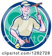 Clipart Of A Retro Cartoon Male Window Washer Holding A Spray Bottle And Squeegee In A Blue White And Turquoise Circle Royalty Free Vector Illustration