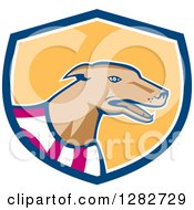 Clipart Of A Retro Cartoon Greyhound Dog Wearing A Racing Vest In A Blue White And Yellow Shield Royalty Free Vector Illustration by patrimonio