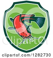Clipart Of A Ray Finned Catfish In A Green And White Shield Royalty Free Vector Illustration by patrimonio