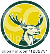 Clipart Of A Retro Buck Deer In A Green White And Yellow Circle Royalty Free Vector Illustration by patrimonio