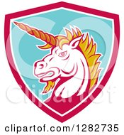 Clipart Of A Retro Angry Unicorn Head In A Pink White And Turquoise Shield Royalty Free Vector Illustration by patrimonio