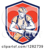Clipart Of A Retro Lumberjack Logger Worker Man Using A Crosscut Saw In A Blue White And Red Shield Royalty Free Vector Illustration