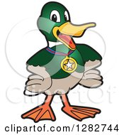 Clipart Of A Happy Mallard Duck School Sports Mascot Character Wearing A Medal Royalty Free Vector Illustration by Toons4Biz