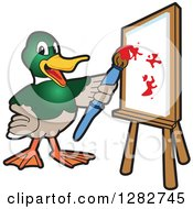 Clipart Of A Happy Mallard Duck School Mascot Character Painting Art On A Canvas Royalty Free Vector Illustration by Toons4Biz