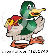 Clipart Of A Happy Mallard Duck School Mascot Character Student Walking Royalty Free Vector Illustration