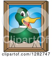 Clipart Of A Happy Mallard Duck School Mascot Character Portrait Royalty Free Vector Illustration by Toons4Biz