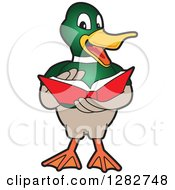 Clipart Of A Happy Mallard Duck School Mascot Character Reading A Book Royalty Free Vector Illustration