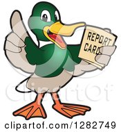 Happy Mallard Duck School Mascot Character Holding A Report Card