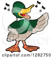 Clipart Of A Happy Mallard Duck School Mascot Character Singing In Chorus Royalty Free Vector Illustration