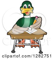 Clipart Of A Happy Mallard Duck School Mascot Character Writing At A Desk Royalty Free Vector Illustration