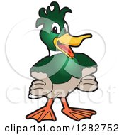 Clipart Of A Happy Mallard Duck School Mascot Character With Funky Hair Royalty Free Vector Illustration