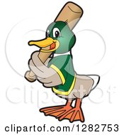 Clipart Of A Happy Mallard Duck School Sports Mascot Character Baseball Player Batting Royalty Free Vector Illustration
