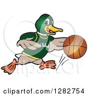 Clipart Of A Happy Mallard Duck School Sports Mascot Character Dribbling A Basketball Royalty Free Vector Illustration