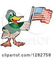 Clipart Of A Happy Mallard Duck School Mascot Character Holding An American Flag Royalty Free Vector Illustration by Toons4Biz