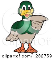Clipart Of A Happy Mallard Duck School Mascot Character Pointing Outwards Royalty Free Vector Illustration