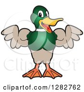 Clipart Of A Happy Mallard Duck School Mascot Character Flexing His Muscles Royalty Free Vector Illustration by Toons4Biz