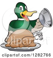 Clipart Of A Happy Mallard Duck School Mascot Character Serving A Roasted Thanksgiving Turkey Royalty Free Vector Illustration