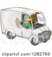 Clipart Of A Happy Mallard Duck School Mascot Character Waving And Driving A Delivery Van Royalty Free Vector Illustration by Toons4Biz