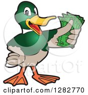 Clipart Of A Happy Mallard Duck School Mascot Character Holding Cash Money Royalty Free Vector Illustration by Toons4Biz