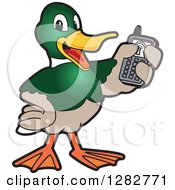 Clipart Of A Happy Mallard Duck School Mascot Character Holding Up A Cell Phone Royalty Free Vector Illustration by Toons4Biz