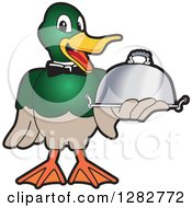 Clipart Of A Happy Mallard Duck School Mascot Character Waiter Holding A Cloche Platter Royalty Free Vector Illustration