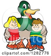 Clipart Of A Happy Mallard Duck School Mascot Character Posing With Students Royalty Free Vector Illustration by Toons4Biz
