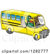 Clipart Of A Happy Mallard Duck School Mascot Character Waving And Driving A Bus Royalty Free Vector Illustration