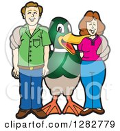 Clipart Of A Happy Mallard Duck School Mascot Character Posing With Parents Royalty Free Vector Illustration by Toons4Biz