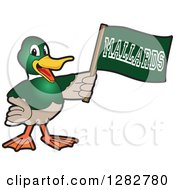 Clipart Of A Happy Mallard Duck School Sports Mascot Character Holding Up A Flag Royalty Free Vector Illustration