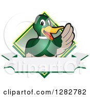 Happy Mallard Duck School Mascot Character Waving Over A Blank Banner And Diamond