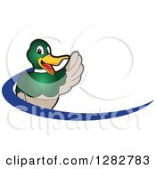 Clipart Of A Happy Waving Mallard Duck School Mascot Character And Blue Dash Logo Royalty Free Vector Illustration by Toons4Biz