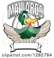 Happy Mallard Duck School Mascot Character Welcoming With Text Over An Oval And Blank Banner